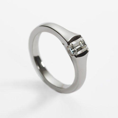 Platinum Engagement Ring with Emerald Cut Diamond
