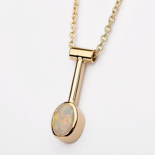 Oval Opal 18ct Yellow Gold Pendant