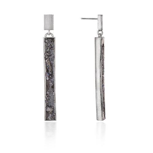 Urban Geode silver vertical drop earrings