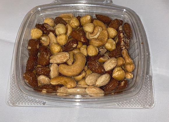 8oz. Almonds, Cashews, Pistachio meats, dried cranberries, raisins, and walnuts