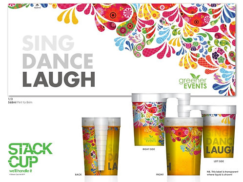 568ml Sing Dance Laugh (Pack of 4 x Cups)