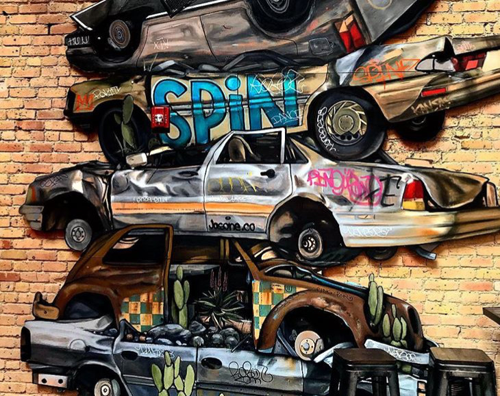 Spin Stacked Car Installation