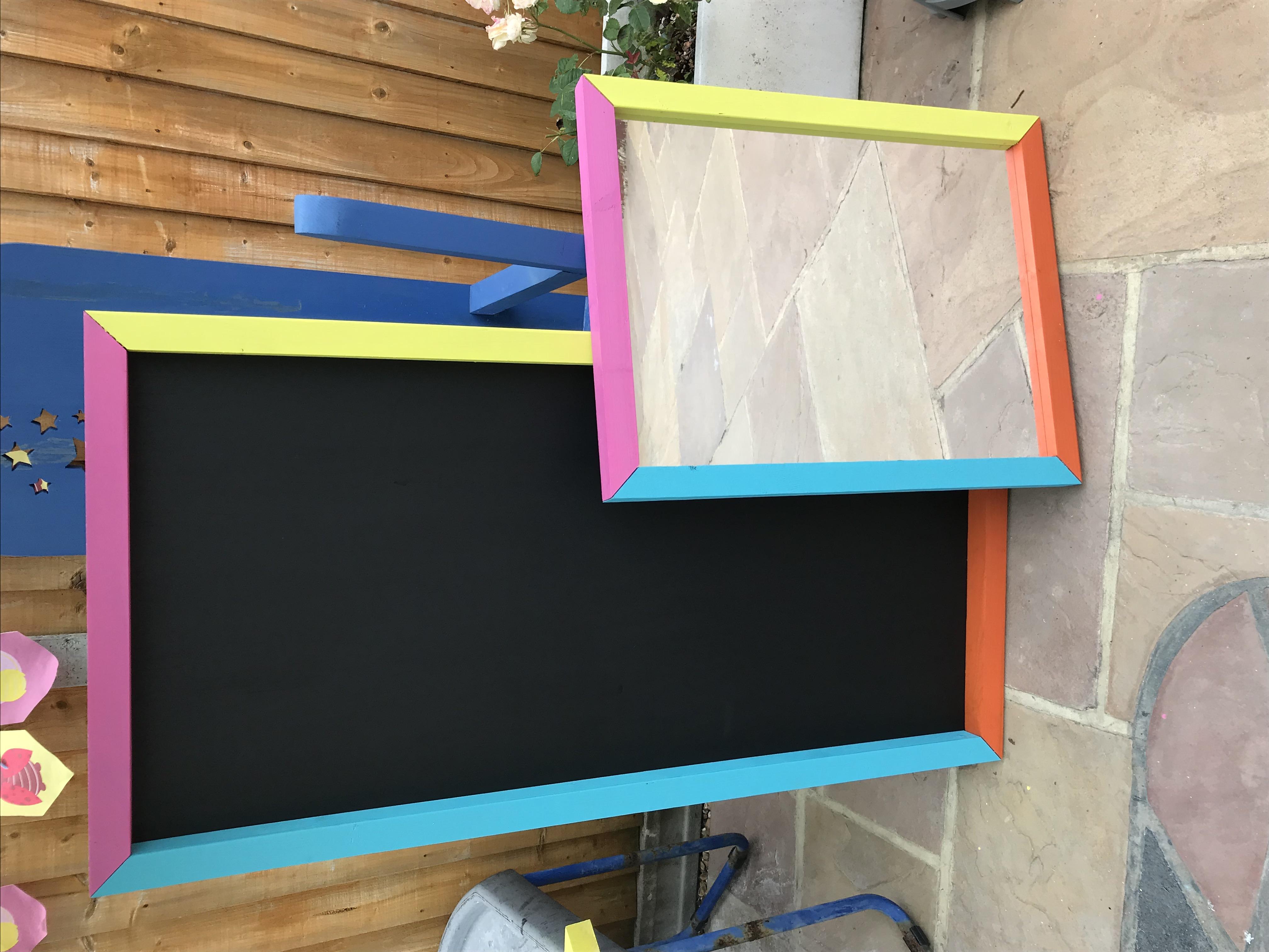 Multi colour chalk board and mirror set