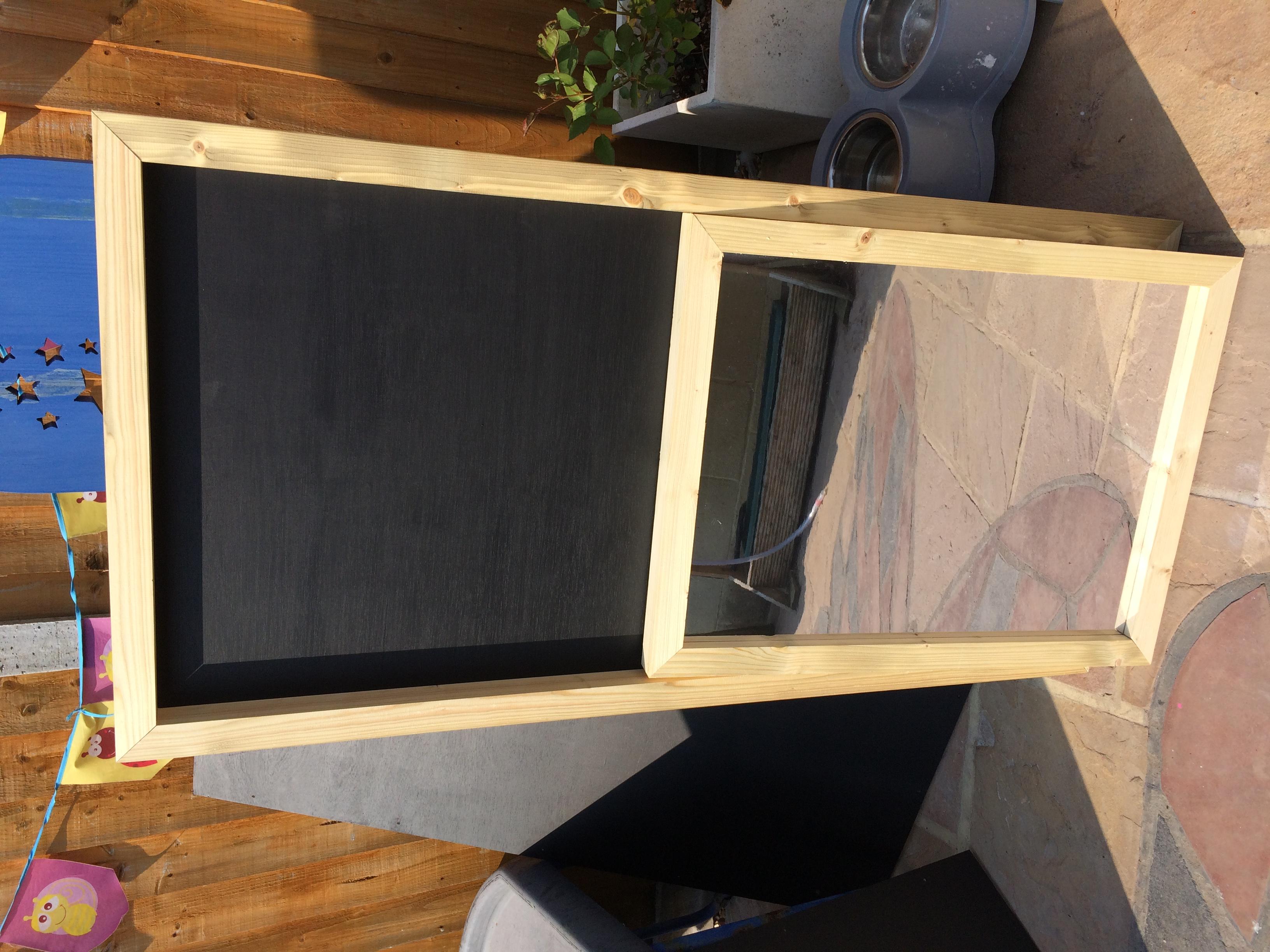Chalk board and mirror natural frames