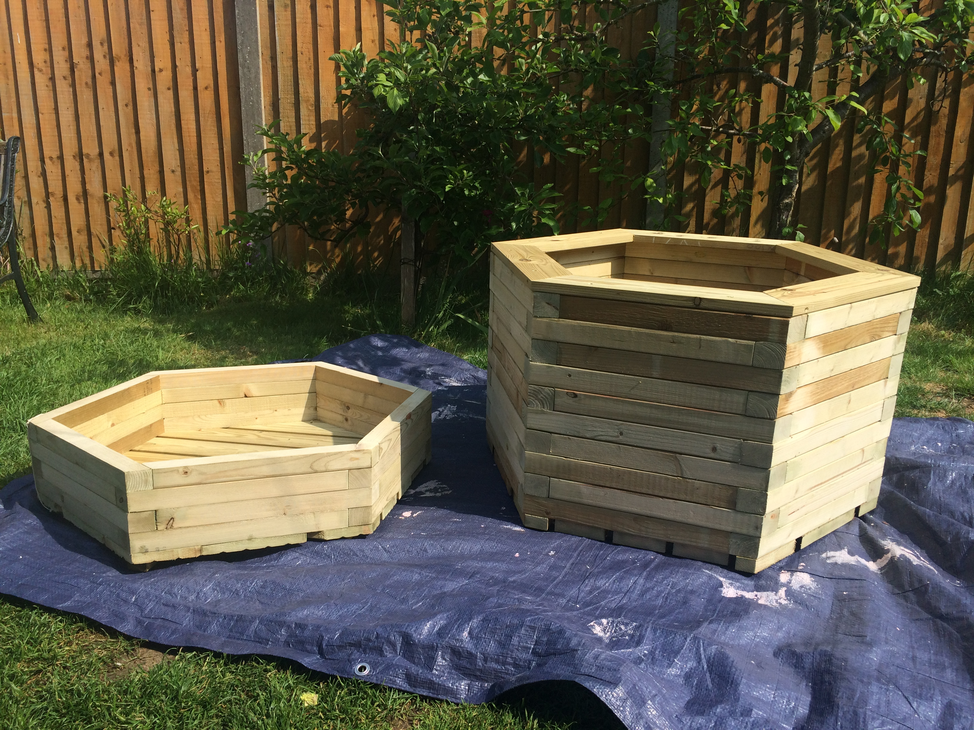 small and large hexagon planters
