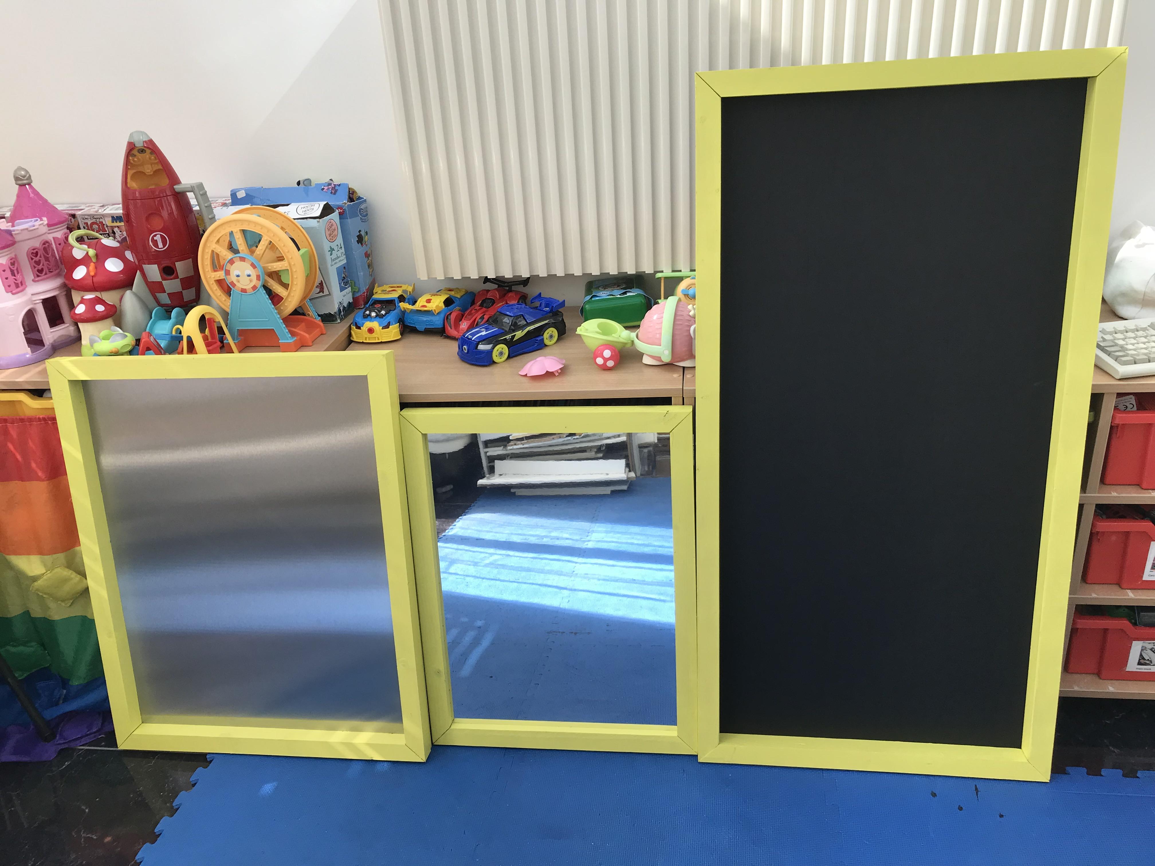 Chalk board, mirror and magnet board
