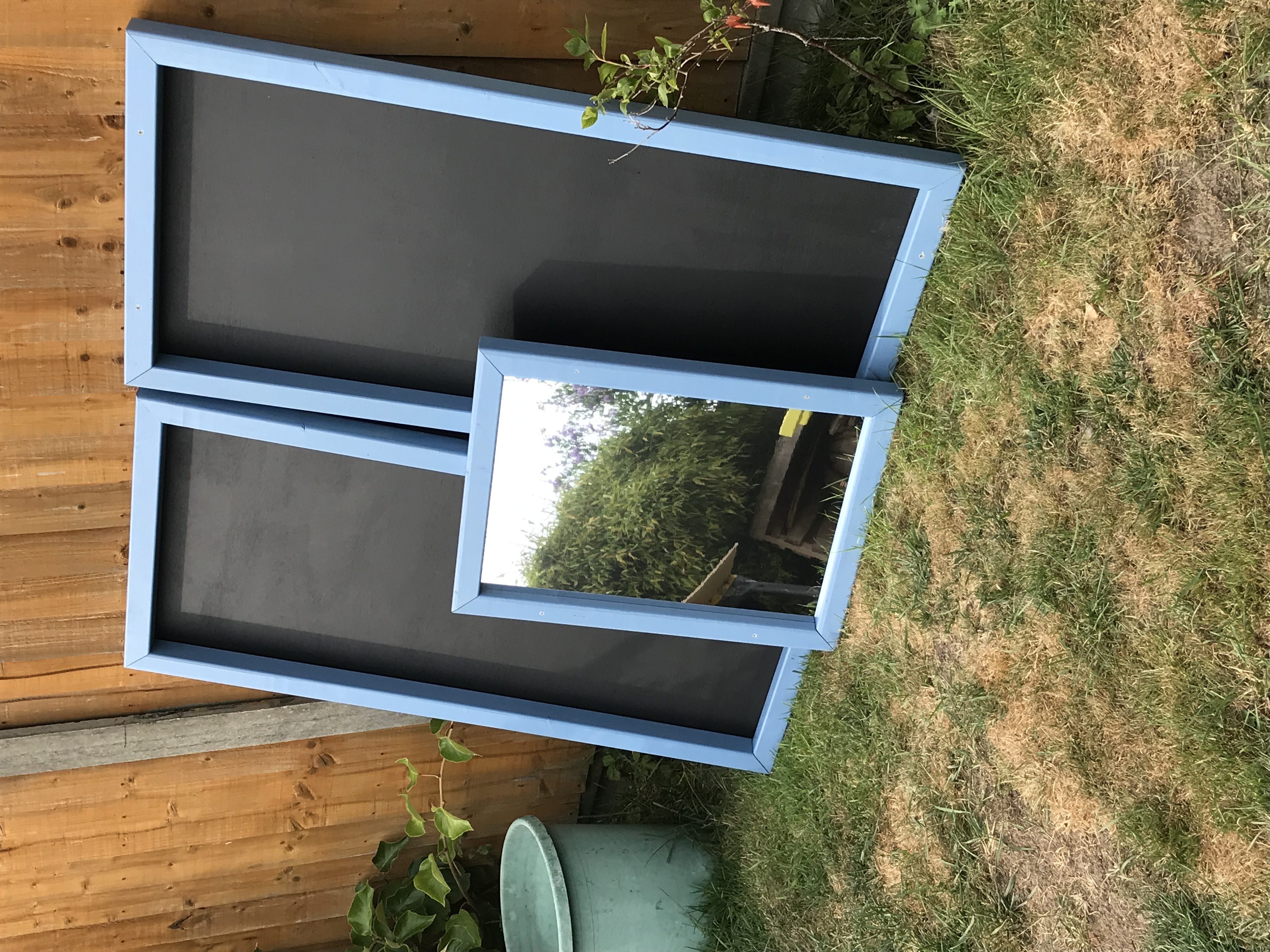 Chalkboards and matching mirror