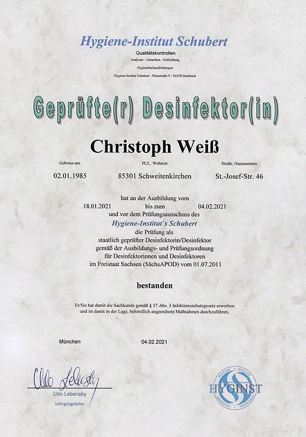Zertifikat staatlichgeprüfter Desinfekto
