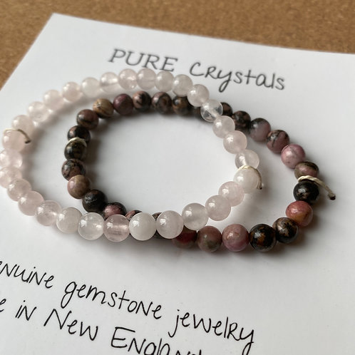 Rose Quartz and Rhodonite Bracelet Set