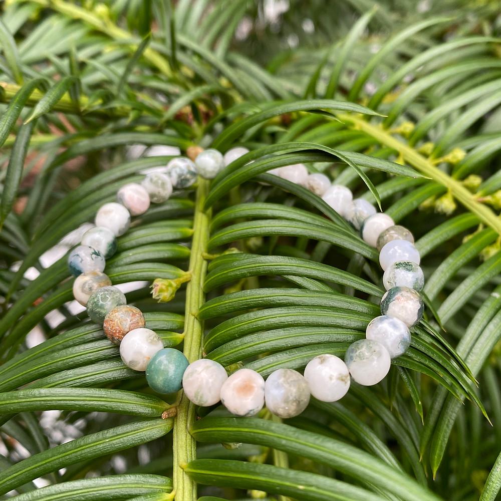 tree agate gemstone stretch bracelet