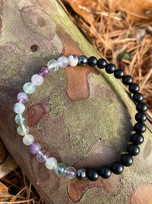 Fluorite Hematite Onyx XL Bracelet