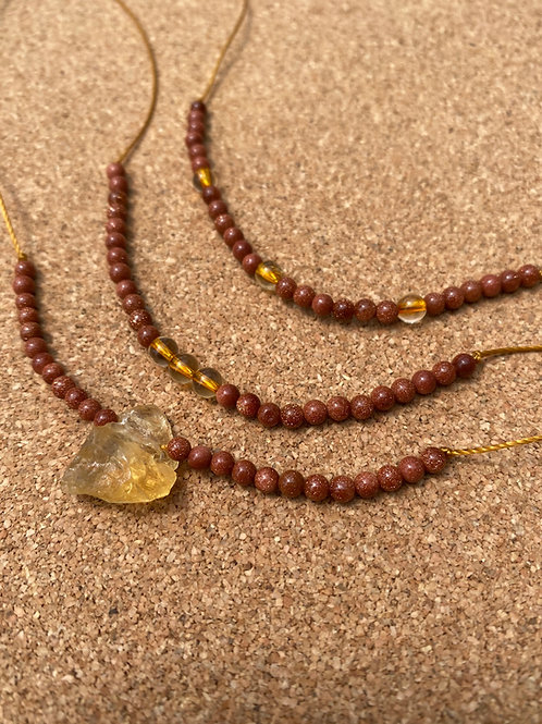Citrine and Goldstone necklaces