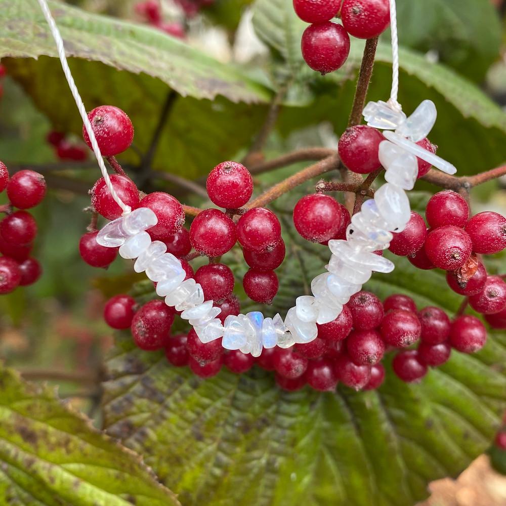 Moonstone Gemstone Necklace Adjustable Length