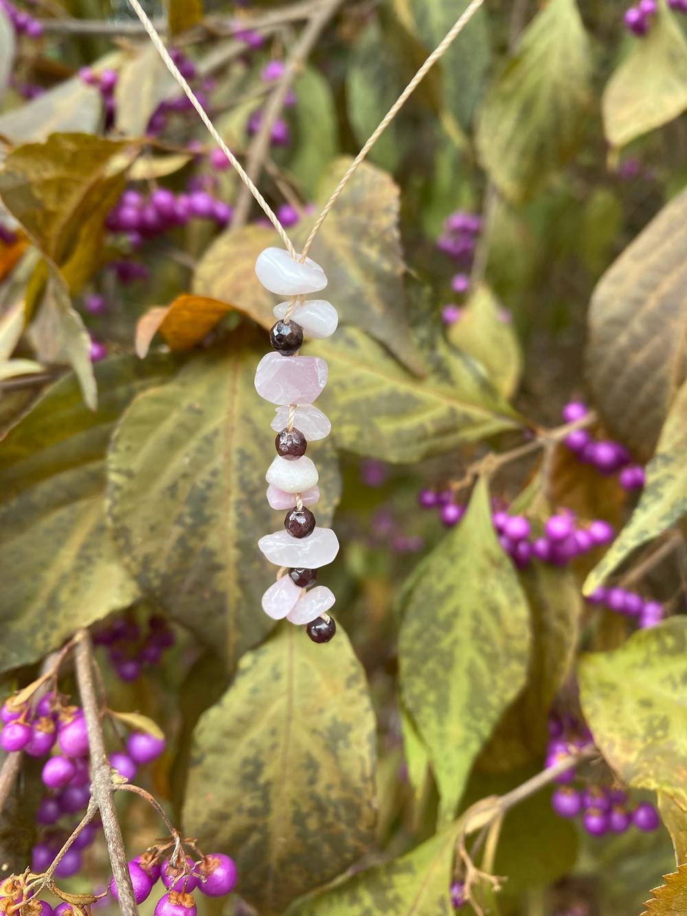 kunzite garnet gemstone necklace