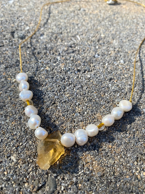raw citrine and freshwater pearl pendant necklace