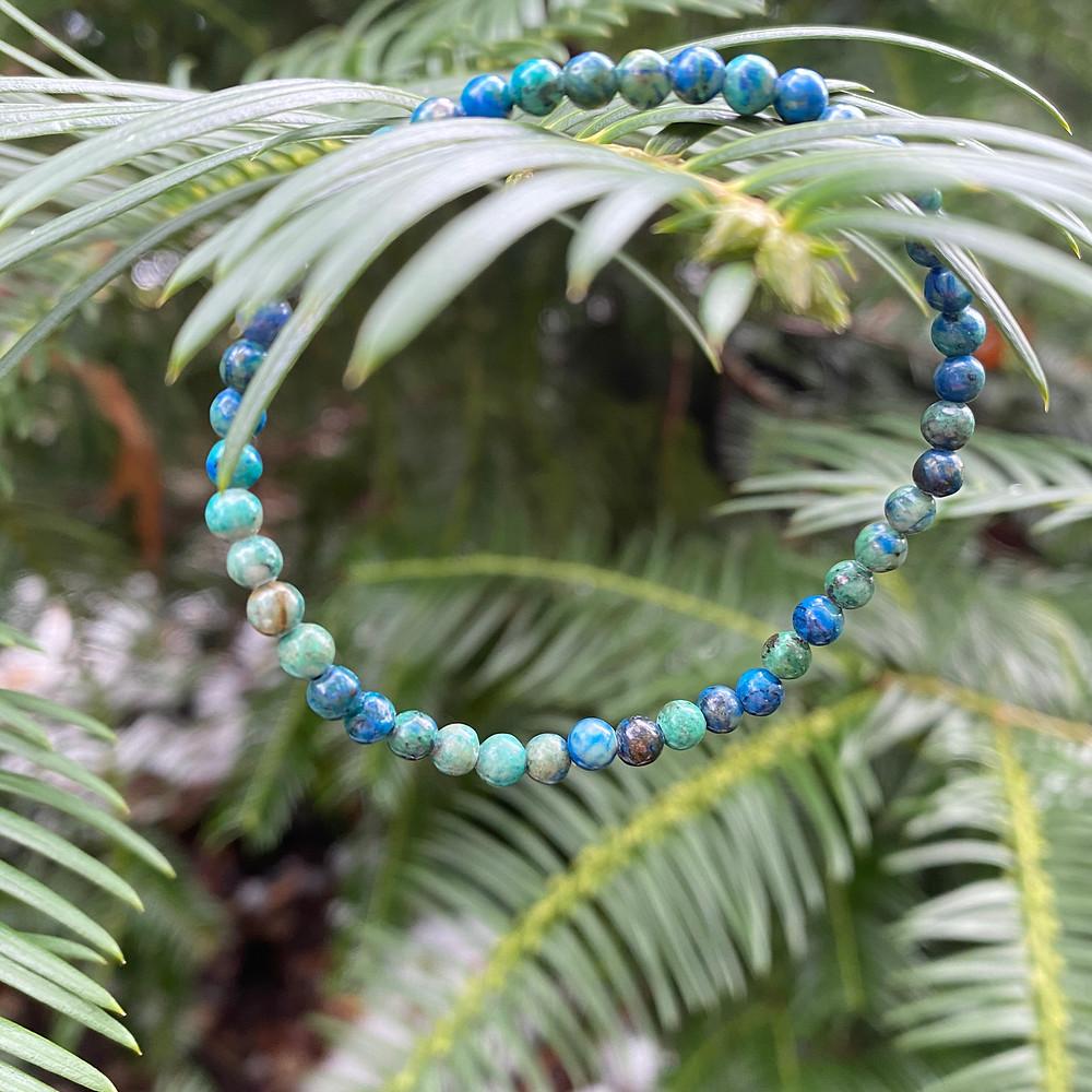 chrysocolla gemstone stretch bracelet