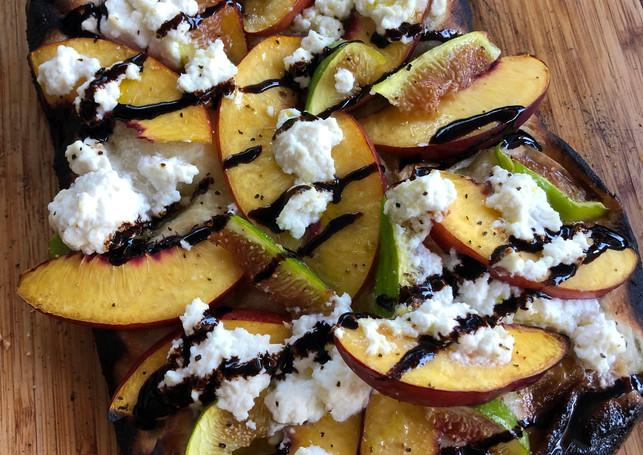 Fig, Peaches, and Fetta Flat Bread