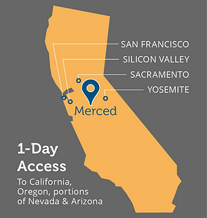 map showing merced surrounded by San Francisco, Silicon Valley, Yosemite
