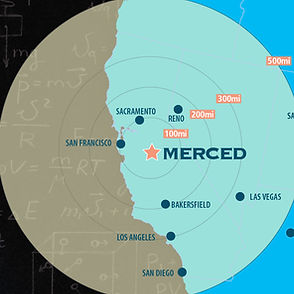 Distance map: Merced to target markets
