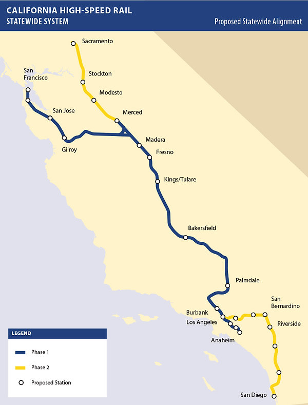 map showing proposed route for high speed rail