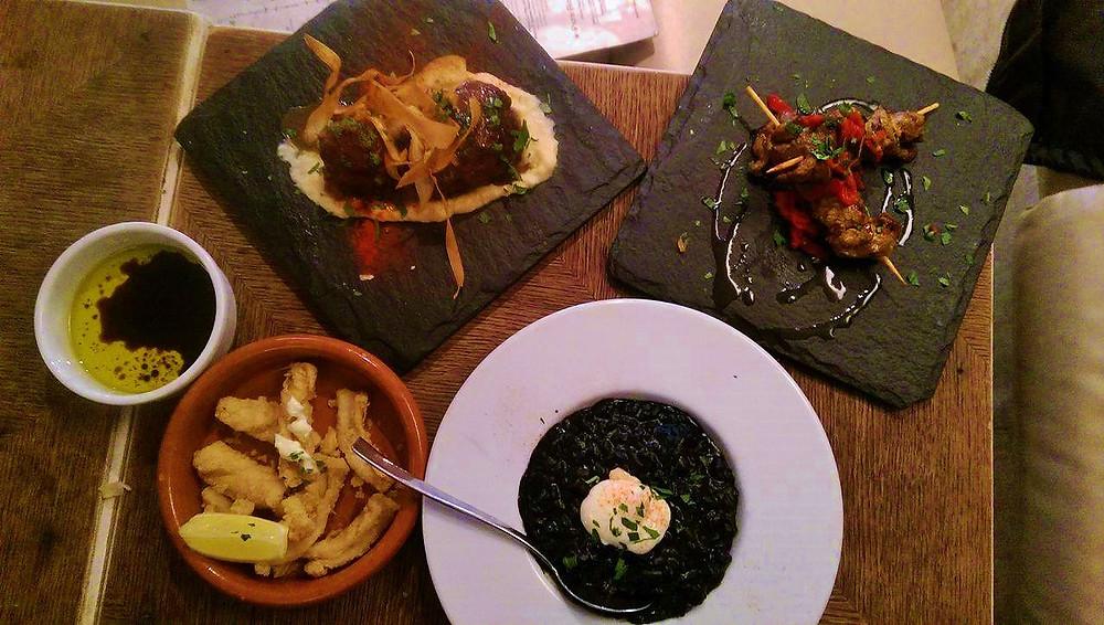 Lamb, Pork, Calamares and black rice