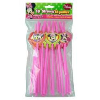 Minnie 18pk Character Straws in Printed Polybag and header