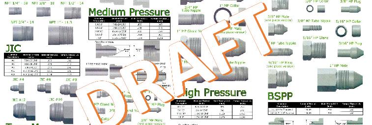 NPT, JIC, Medium Pressure and High Pressure Fittings Reference Chart