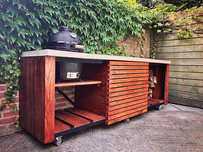Custom outdoor Kamado kitchen