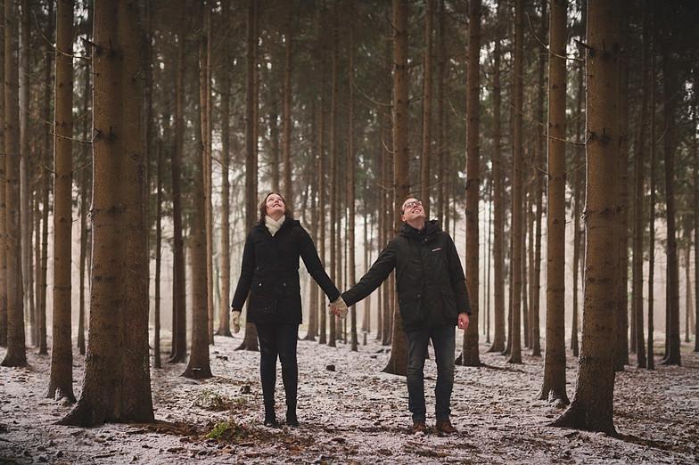 Verlovingsshoot in de sneeuw