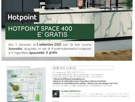 Hotpoint space 400. Il frigo da incasso da 75 cm, 400 litri con Scavolini è GRATIS