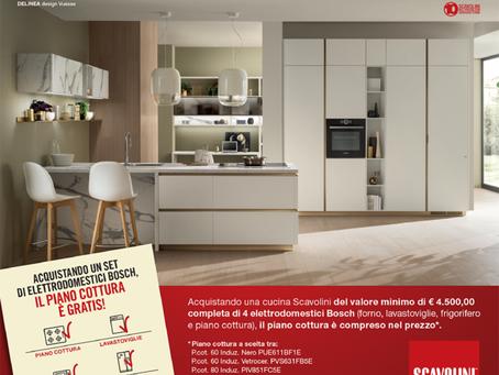 Acquistando una cucina Scavolini, avrai in regalo un piano cottura a induzione oppure a gas Bosch
