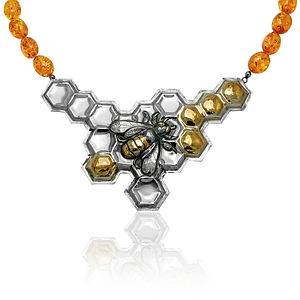 Necklace - bee on honeycomb