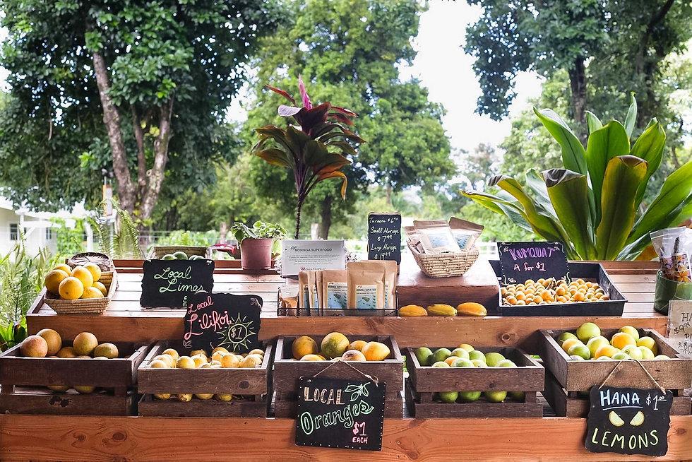 Fresh fruit for sale at Hana Farms
