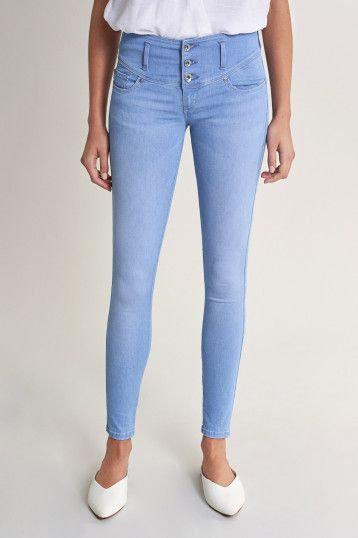 123263 Jeans Mystery Push Up skinny en denim clair