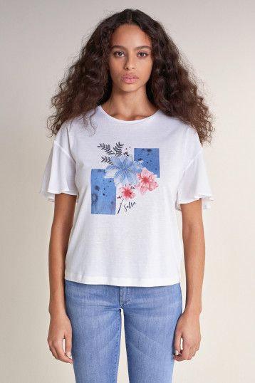 125027 T-shirt à motif fleuri