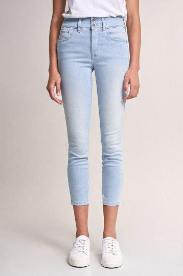 123325 Jeans Push In Secret capri avec détails de vagues