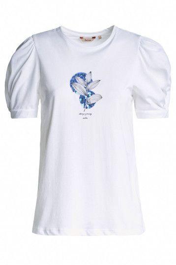 125028 T-shirt à motif et manches torsadées