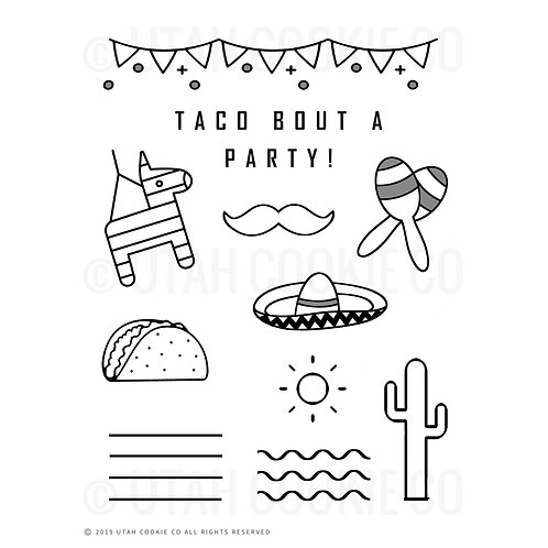 Taco Party Themed Royal Icing Class/Practice Template