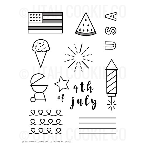 4th of July Themed Royal Icing Class/Practice Template