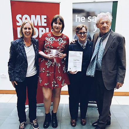 Ellen Jones, Ruth Hunt and Sir Ian Mckellen stood tgether as Ellen wins her Stonewall Young Camaigner of the Year Award