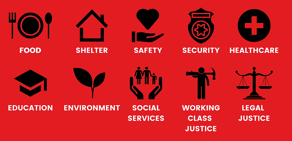Infographic: TCAC demands food, shelter, safety, security, healthcare, education, enviornment, social services, working class justice, and legal justice for all.