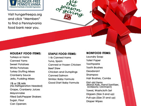 Food Banks' Holiday Wish Lists