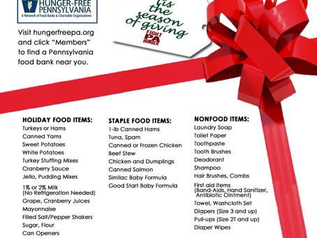 Food Banks' Holiday Wish Lists