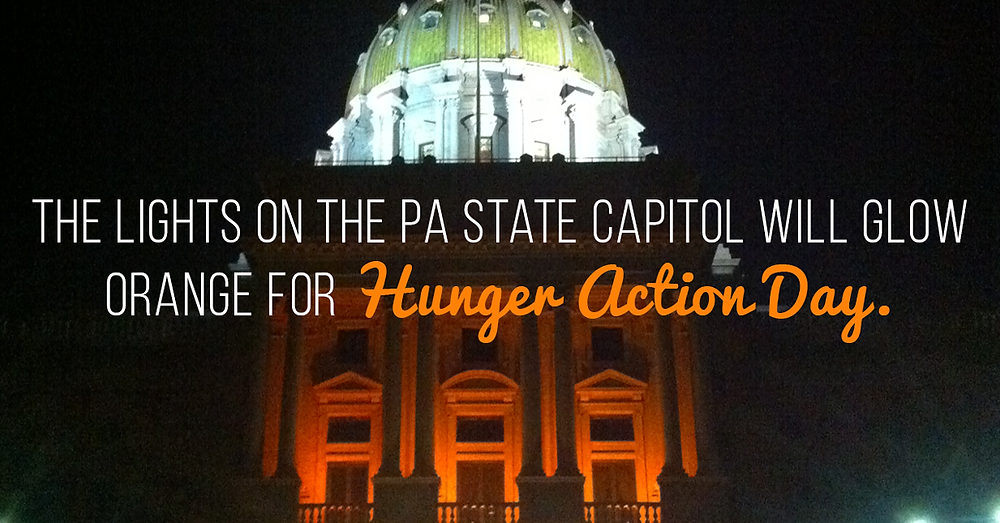 Lights on PA State Capitol Orange for Hunger Action