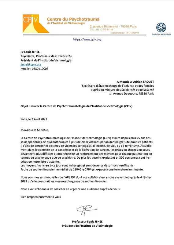 Lettre au Secrétaire d'Etat
