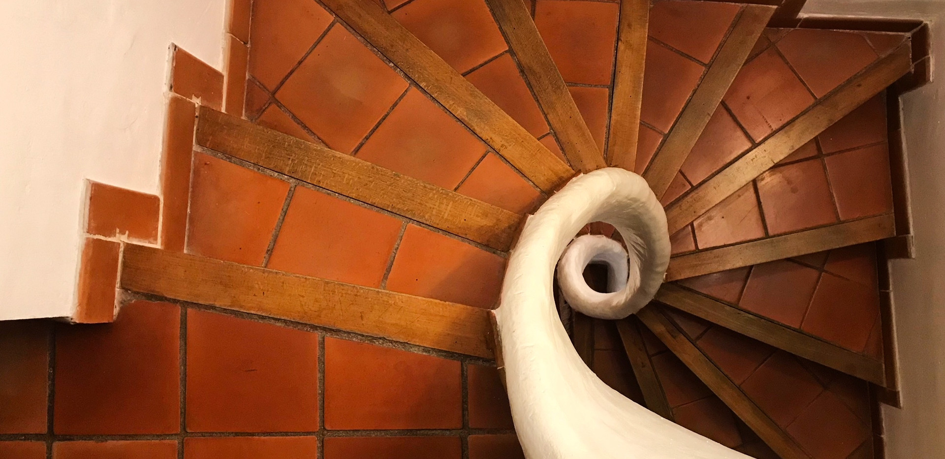 The escargot staircase in our house.