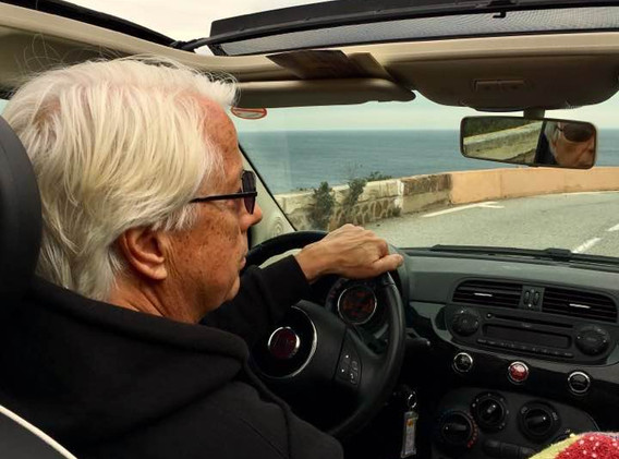 Cruising the Corniche d'Or in a Fiat 500.