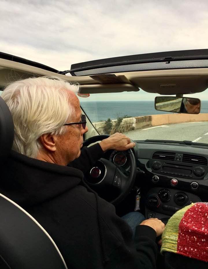 Cruising the Corniche d'Or in a Fiat 500.