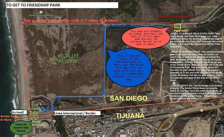 Friendship Park Access Map
