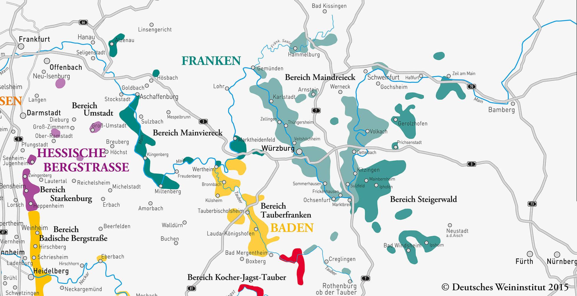 Deutscher Wein aus Franken und dem Anbaugebiet Hessische Bergstrasse